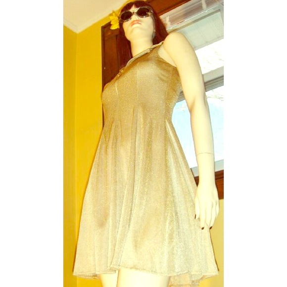 Vintage Dresses & Skirts - 💛VTG Fit & Flare Gold Glitter Mini Skater Dress